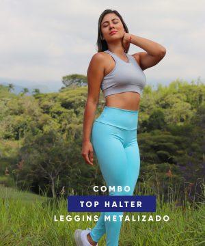 Combo Top Halter – Leggins Metalizado